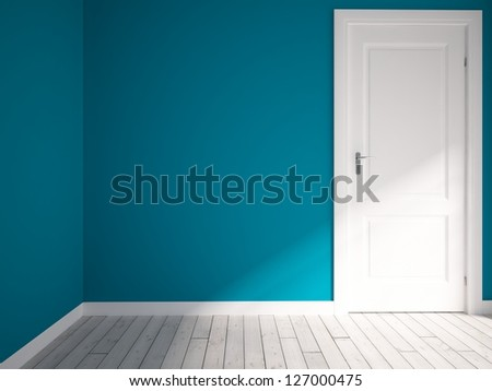 blue empty interior with a white door - stock photo