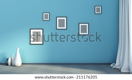 blue empty interior with curtain and frames - stock photo