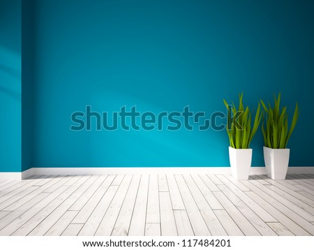 blue empty interior with green plants in white vases - stock photo