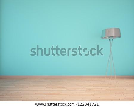 blue empty interior with lamp - stock photo