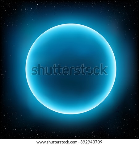 Blue empty planet design concept. Stars and space on background - stock photo