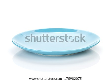 Blue empty plate. Isolated on white background - stock photo