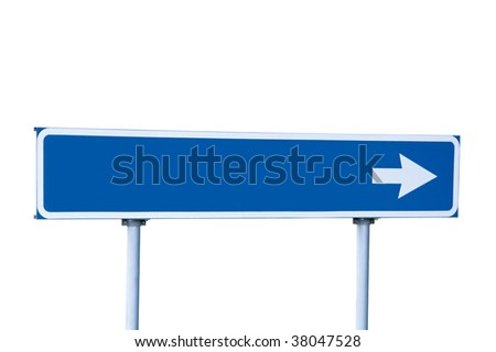 Blue Empty Road Name Arrow Sign, Isolated, Large Detailed Roadside Signage, Blank Copy Space Background - stock photo