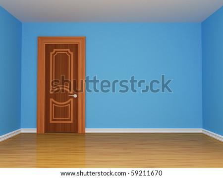 blue empty room with door - stock photo