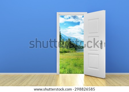 Blue empty room with door open - stock photo