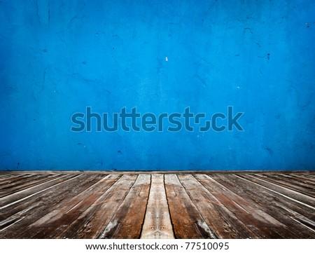blue empty room with wooden floor - stock photo