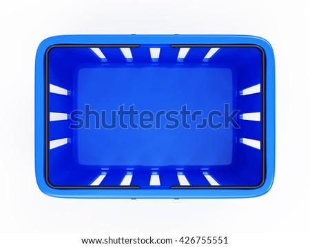 Blue Empty Shopping Basket isolated on white background. 3D Rendering. Top View - stock photo