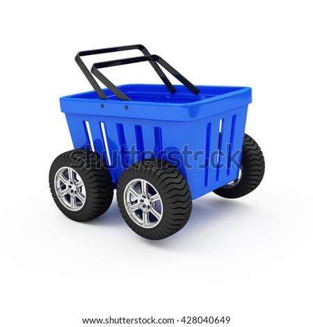 Blue Empty Shopping Basket on Wheels isolated on white background. 3D Rendering - stock photo