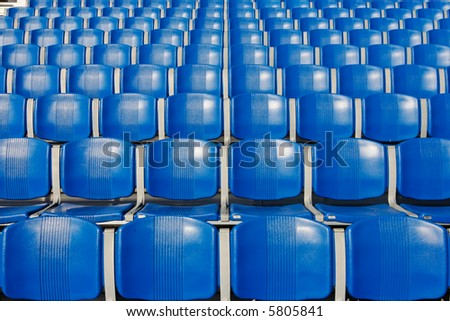 Blue Empty Stadium Seats - stock photo