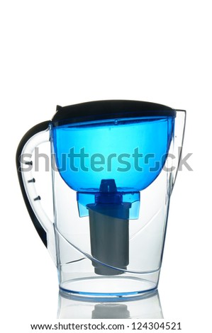Blue empty water filter isolated on white - stock photo