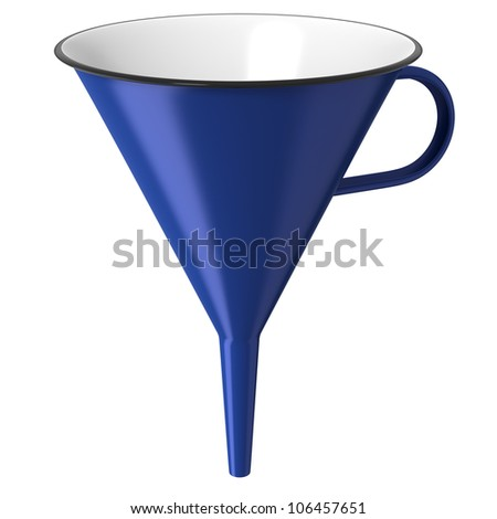 Blue enamel funnel or cone isolated on white background - stock photo