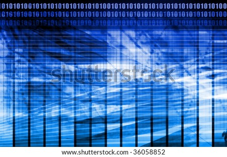 Blue Energy Spectrum With Data Grid Lines - stock photo