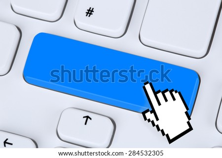 Blue enter key online on internet computer keyboard with copyspace - stock photo