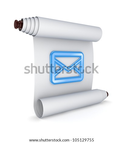 Blue envelope icon on ancient scroll.Isolated on white background.3d rendered.