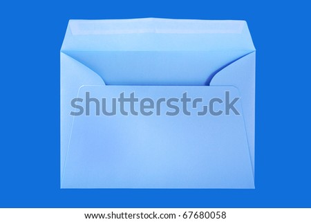 Blue envelope isolated on the blue surface with work paths. - stock photo
