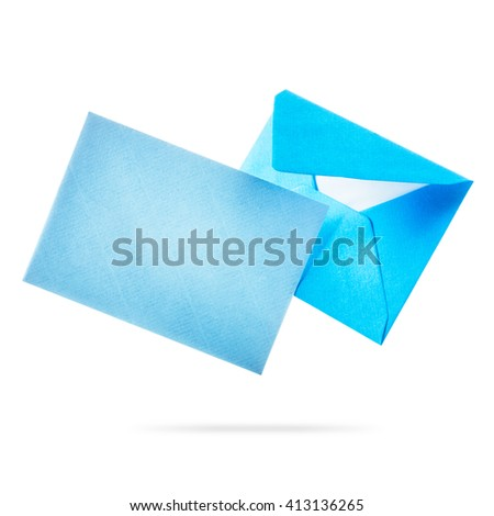 Blue envelope with card flying. Group of objects isolated on white background clipping path included