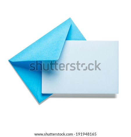 Blue envelope with card on white background, clipping path included
