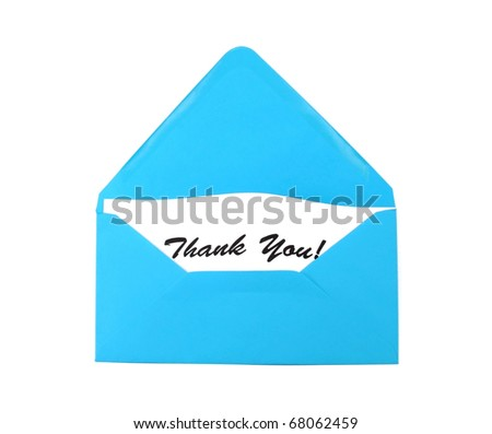 Blue envelope with gratitude- Thank You - stock photo