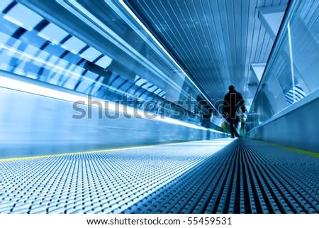 blue escalator in modern office - stock photo