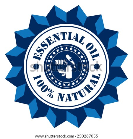 Blue Essential Oil 100% Natural With Essential Oil Bottle Sign Icon, Label or Sticker Isolated on White Background  - stock photo