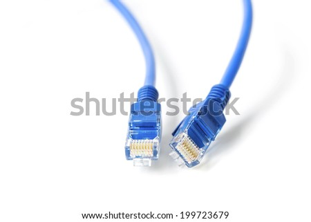 Blue Ethernet Line isolated on white