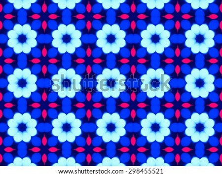 Blue Ethnic pattern. Abstract kaleidoscope fabric design.
