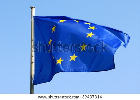 blue EU flag blowing in the wind