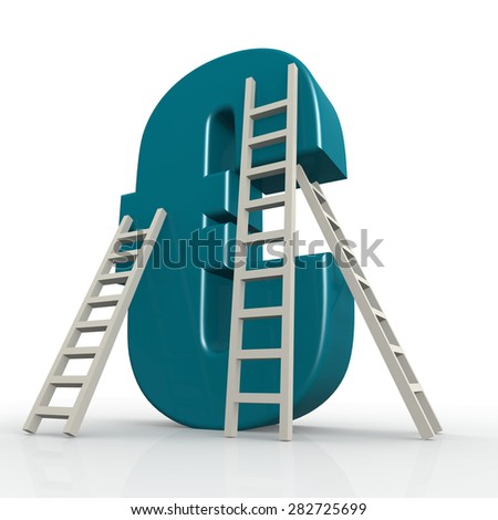 Blue euro sign with ladder image with hi-res rendered artwork that could be used for any graphic design. - stock photo