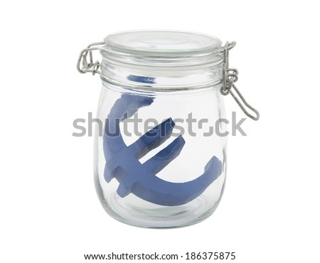 Blue euro symbol in a glass jar with clipping path - stock photo