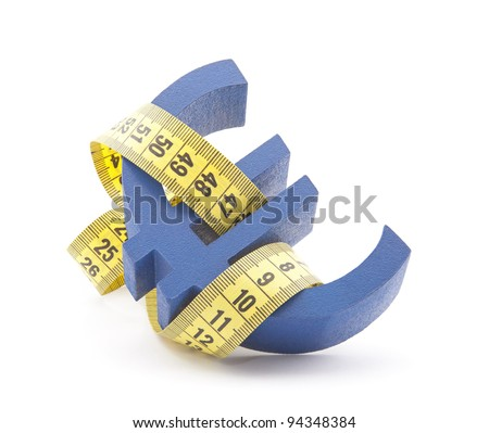 Blue euro symbol with measuring tape - stock photo