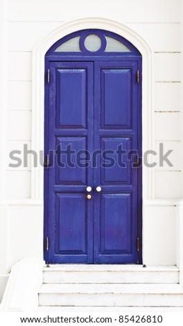 Blue European style door in the royal palace,Bangkok Thailand - stock photo