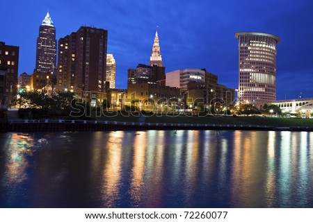 Blue evening by Cuyahoga River in Cleveland - stock photo