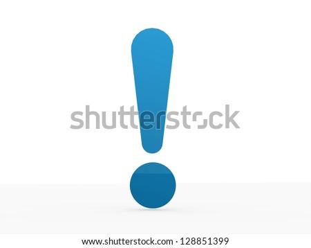 Blue exclamation mark isolated on white background - stock photo