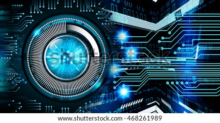 blue eye abstract cyber future technology concept background, illustration, circuit, binary code. move motion speed. sci-fi