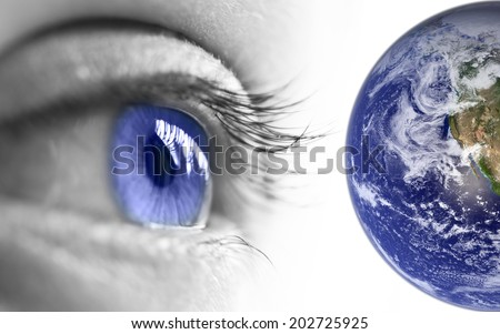Blue eye and earth, elements of this image are furnished by NASA - stock photo