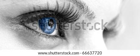 Blue Eye - Beautiful, Feminine - stock photo