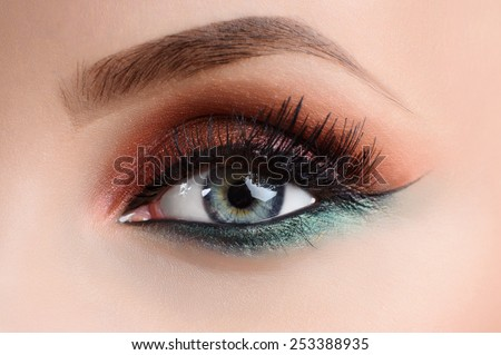 blue eye close-up with make-up - stock photo