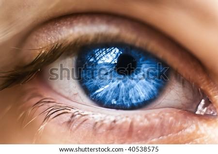 Blue Eye Closeup - stock photo