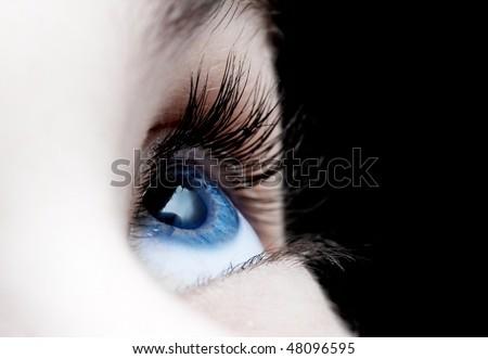 Blue eye closeup of a girl - stock photo