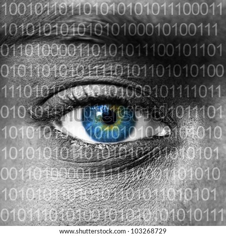 Blue eye extreme close up and binary numbers - stock photo