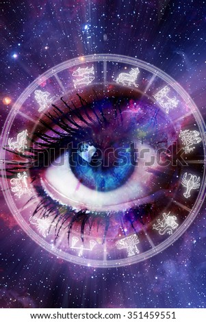 blue eye inside an astrological chart wheel with all signs of the zodiac - stock photo