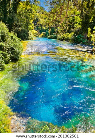Blue Eye is a water spring discharge between 2 and 18 m3 / s. Delvine district, Albania. - stock photo