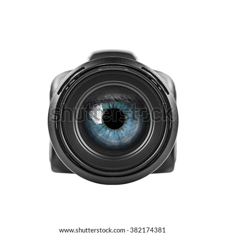 Blue eye looking through unbranded digital camera lens. Isolated over white. - stock photo