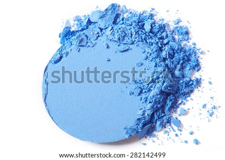 Blue eye shadow crushed make up isolated on white background - stock photo