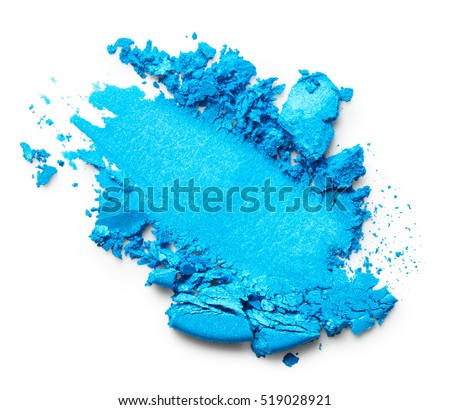 Blue eye shadow isolated on white background