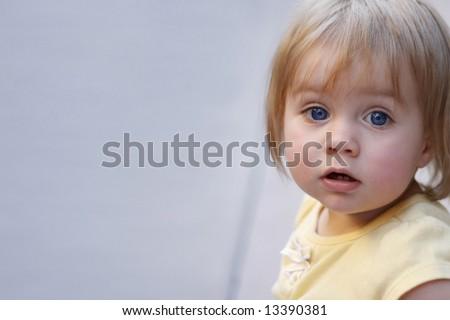 Blue Eyed Baby Girl - stock photo