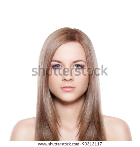 blue eyed blond-brown woman face over white - stock photo