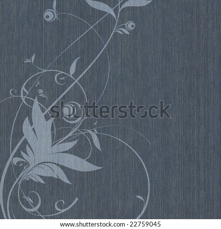 Blue fabric background with a flower pattern