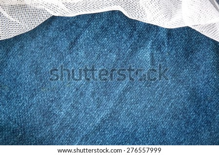 blue fabric texture background with white curve mesh - stock photo
