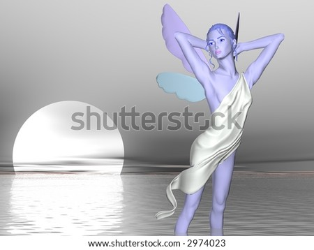 Blue fairy dancing by the light of a full moon near the sea - stock photo